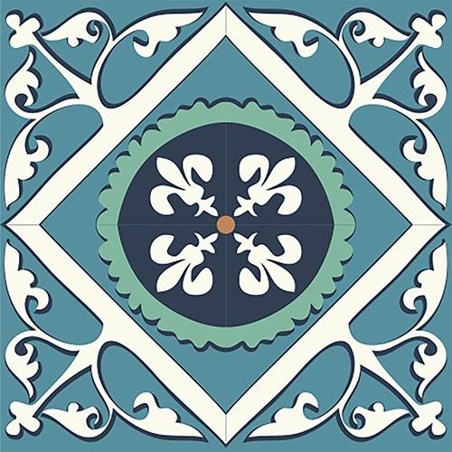 sticker adhésif pour carrelage mural imitation ciment vert et orange