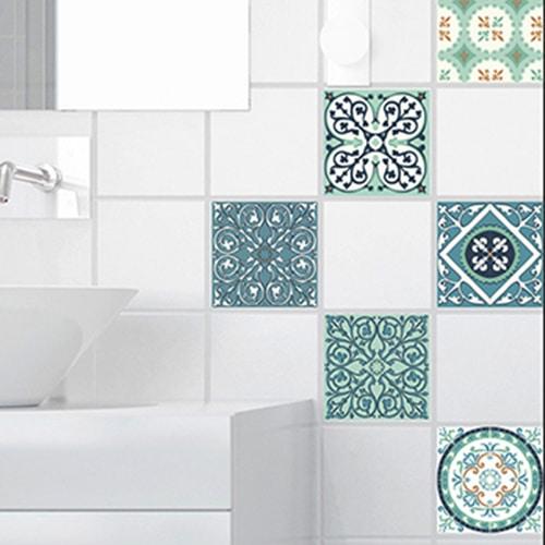 Autocollant sticker déco pour carrelage imitation ciment vert et orange de salle de bain moderne