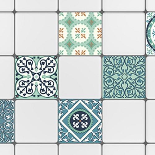 Adhésif sticker déco ciment motif vert et orange pour carrelage blanc de cuisine