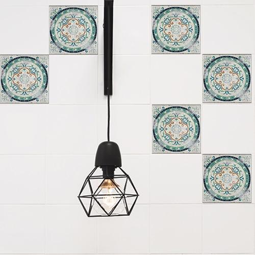 Adhésif décoration intérieur motif Antico Evora gris pour carrelage blanc de cuisine