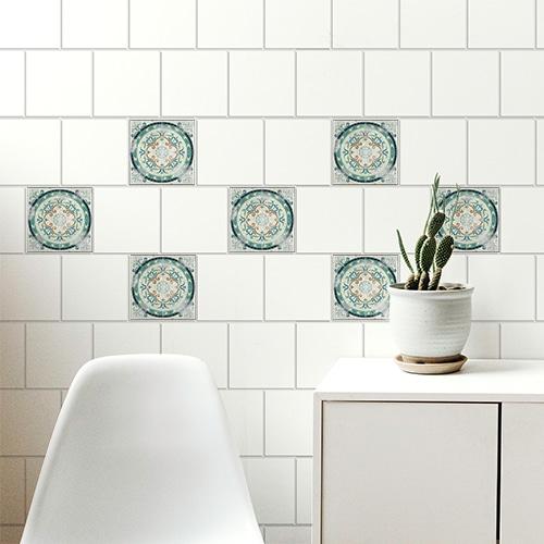 Sticker adhésif Antico Evora décoration pour carrelage au dessus d'une table basse