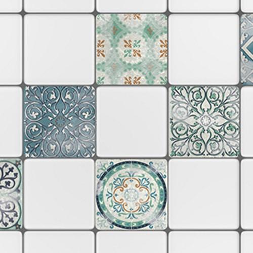 Autocollant sticker gris motif Antico Evora pour carrelage blanc de cuisine