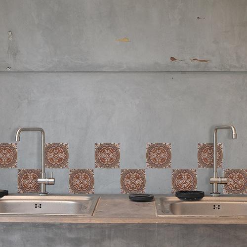 Sticker autocollant Carreaux naxos décoration pour carrelage au dessus d'un évier de cuisine