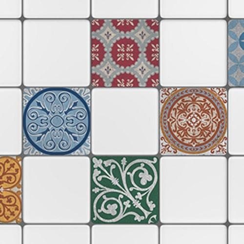 Autocollant décoration bleu gamme Naxos pour carrelage blanc de cuisine