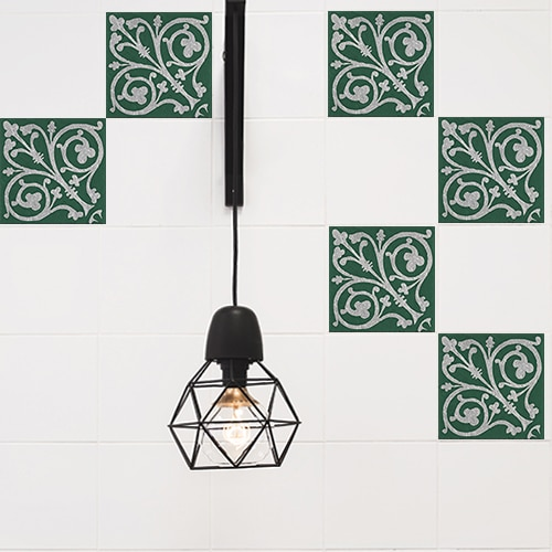 Autocollant pour carrelage blanc de cuisine décoration intérieur bleu motif Naxos
