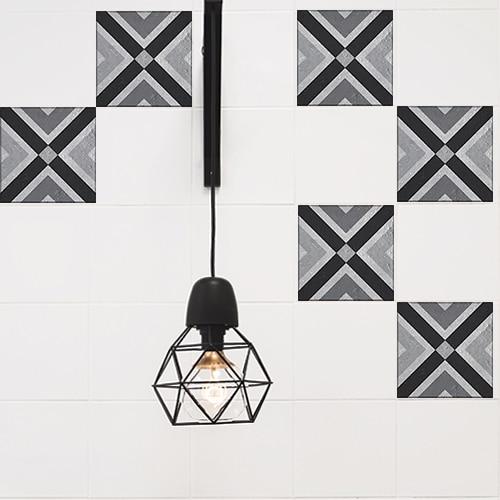 Autocollant décoration gris Faenza pour carreaux blanc de cuisine