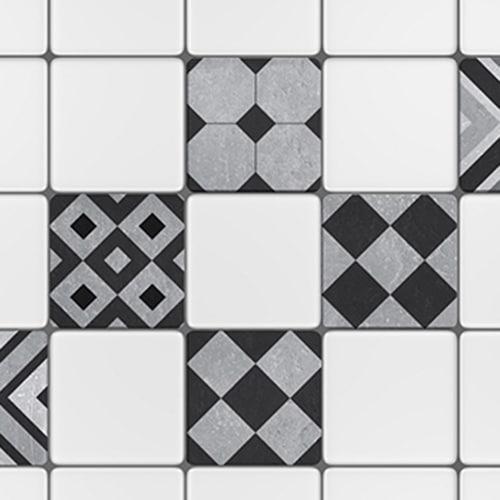 Adhésif sticker gris motif Faenza pour décoration de carreaux blanc de cuisine
