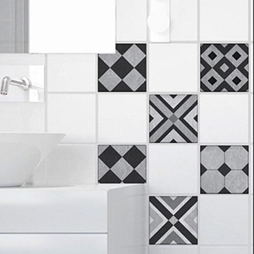 Sticker autocollant décoration pour carrelage blanc Faenza noir et gris pour salle de bain moderne
