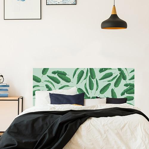 Sticker autocollant décoration feuilles de palme tête de lit ambiance chambre