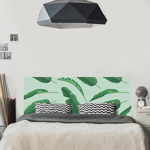 Sticker décoration adhésif feuilles de palme tête de lit chambre