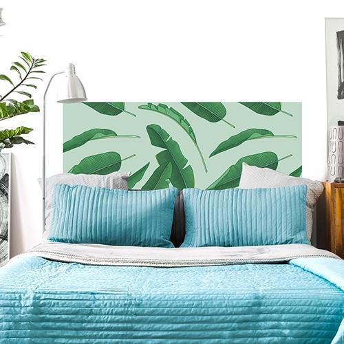 Stickers Palmes vertes dans une chambre déco pour tête de lit