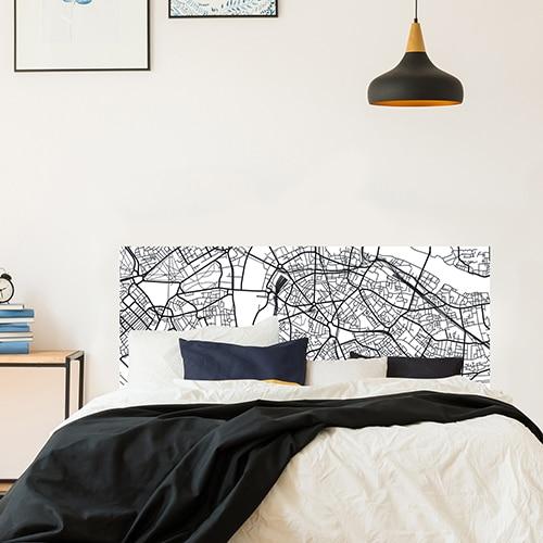 Sticker adhésif décoration carte london tête de lit pour chambre