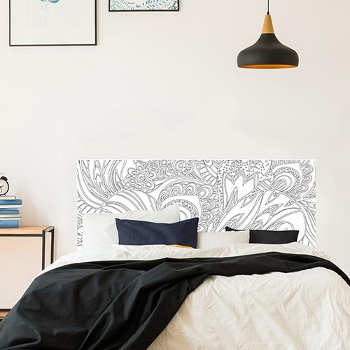 Sticker adhésif fleur noir et blanc tête de lit décoration chambre