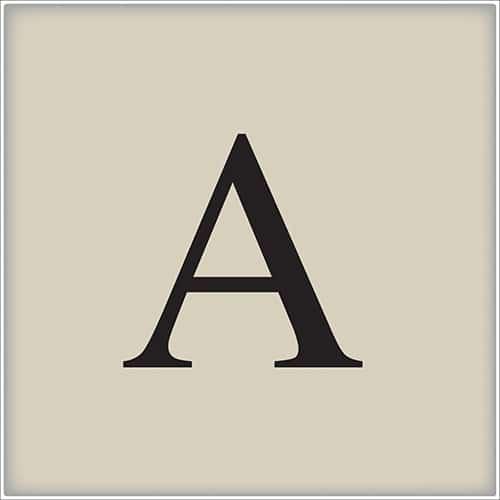 Sticker autocollant alphabet beige et noir