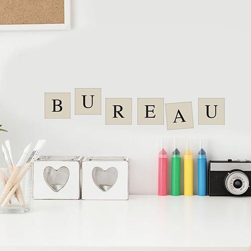 Autocollant alphabet décoration de mur beige et noir