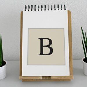"""Autocollant alphabet lettre """"B"""" beige et noir pour déco d'agenda sur un meuble"""