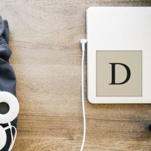 """Autocollant lettre """"D"""" d'alphabet beige et noir pour décoration d'ordinateur portable blanc"""