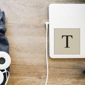 """Autocollant beige et noir sticker alphabet lettre """"T"""" déco pour ordinateur portable"""
