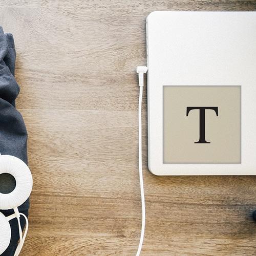 Autocollant beige et noir sticker alphabet lettre