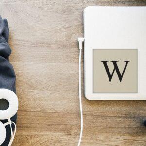 """Adhésif sticker beige et noir lettre d'alphabet """"W"""" pour décoration d'ordinateur portable"""