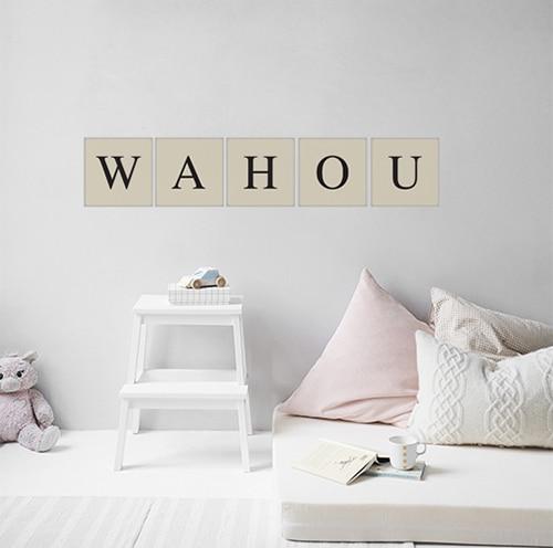 Sticker adhésif décoration de mur gris lettre d'alphabet