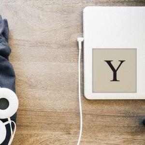 """Adhésif sticker lettre """"Y"""" déco alphabet beige et noir pour ordinateur portable"""