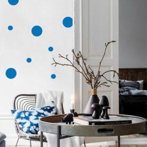 Adhésif décoration pour mur de salon rond bleu
