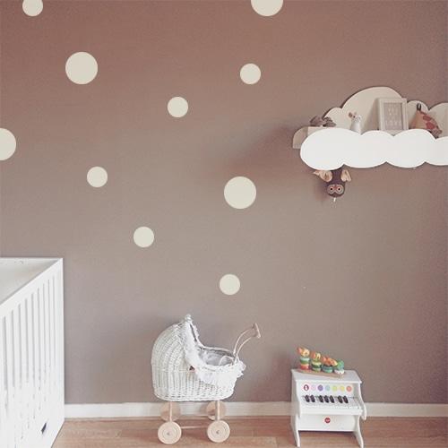 Adhésif sticker déco de mur foncé de chambre d'enfant rond gris clair