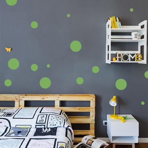 Adhésif pour chambre d'enfant rond vert pour mur foncé