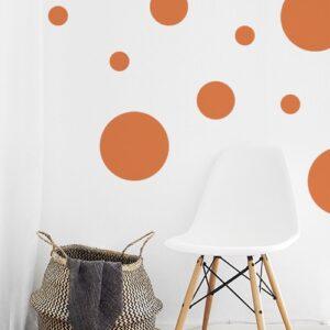 Adhésif déco mur blanc de salon sticker rond orange