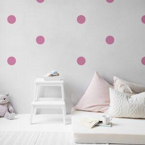 Autocollant déco rond rose pour mur blanc de chambre d'enfant