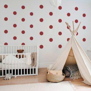 Adhésif déco mur blanc de chambre d'enfant sticker rond rouge