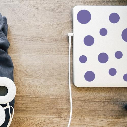 Adhésif rond violet pour décoration d'ordinateur portable