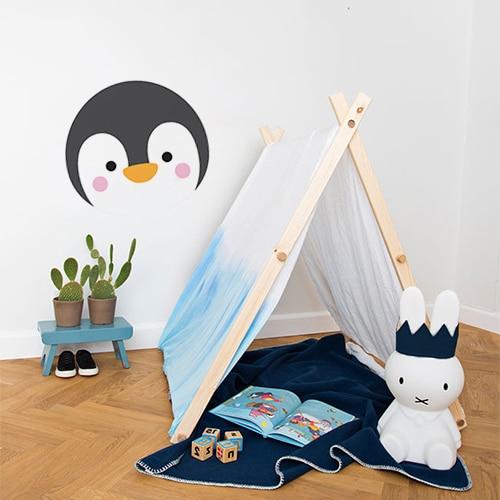 Adhésif tête de pingouin pour enfant décoration mur blanc de chambre
