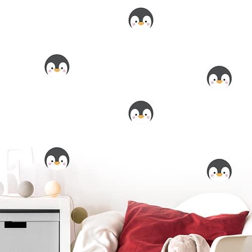 Autocollant tête de pingouin déco mur blanc de chambre d'enfant