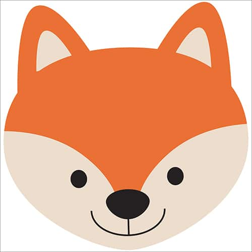 Autocollant sticker tête de renard décoration de chambre d'enfant