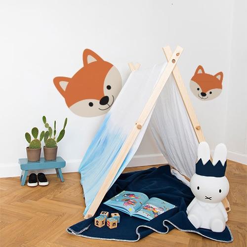 sticker adhésif tête de renard déco mur blanc chambre d'enfant