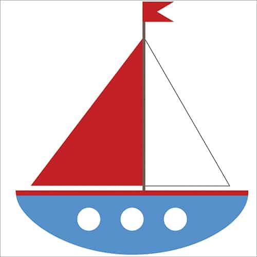 sticker décoratif mural voilier pour chambres d'enfants