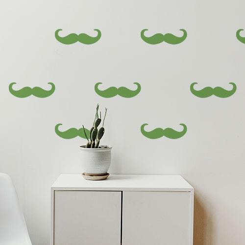 Petite frise de stickers muraux moustache en croc verte