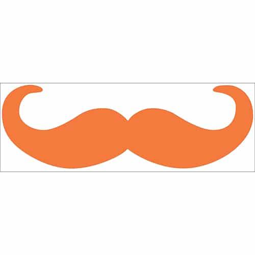 sticker décoratif mural moustache en croc orange