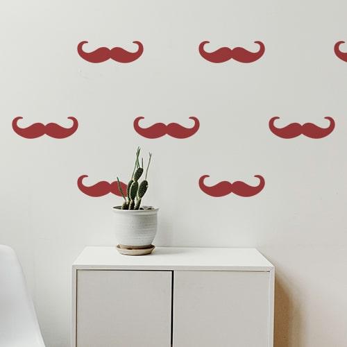 Mosaïque de sticker moustache en croc rouge