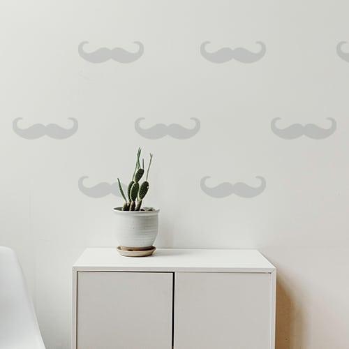 sticker mural moustache en croc grise format frise
