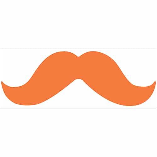 sticker adhésif décoratif moustache orange