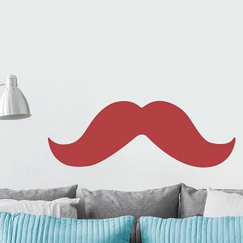 sticker géant mural moustache rouge dans une pièce