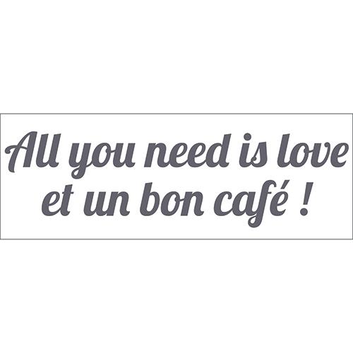 Sticker gris adhésif décoration citation amour pour cuisine