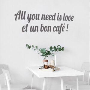 Autocollant mural gris citation amour décoration pour salle à manger mur blanc