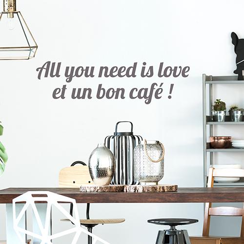 Sticker citation amour autocollant décoration gris pour salle à manger moderne