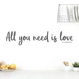 """Autocollant """"all you need is love"""" gris pour décoration de mur blanc de cuisine"""