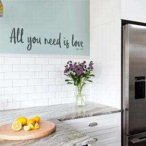 Autocollant amour et chocolat citation pour décoration murale de cuisine moderne