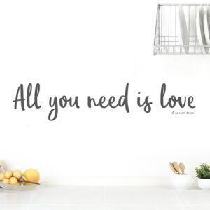 """Adhésif mural noir """"all you need is love"""" pour déco de cuisine"""